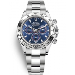 Rolex Cosmograph Daytona White Gold Blue Dial Watch 116509