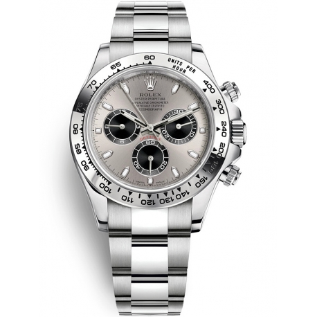 116509-0072 Rolex Oyster Cosmograph Daytona White Gold Steel Dial Watch