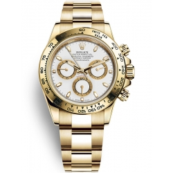 Rolex Cosmograph Daytona Yellow Gold White Dial Watch 116508