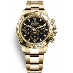 Rolex Cosmograph Daytona Yellow Gold Black Dial Watch 116508