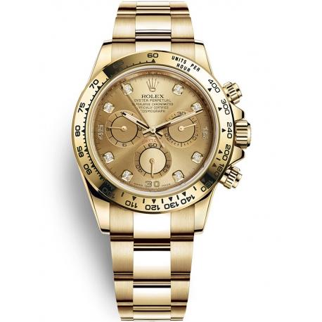 116508-0006 Rolex Oyster Cosmograph Daytona Yellow Gold Champagne Diamond Dial Watch