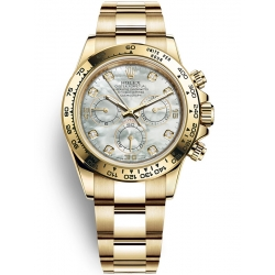 Rolex Cosmograph Daytona Yellow Gold White MOP Diamond Dial Watch 116508