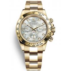 Rolex Cosmograph Daytona Yellow Gold White MOP Diamond Dial Watch 116508