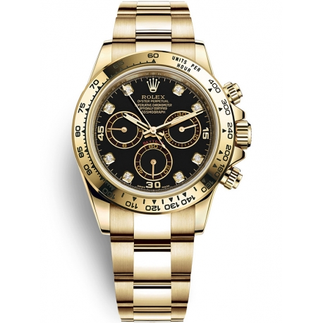 116508-0008 Rolex Oyster Cosmograph Daytona Yellow Gold Black Diamond Dial Watch