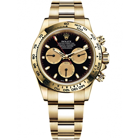 116508-0009 Rolex Oyster Cosmograph Daytona Yellow Gold Black Champagne Dial Watch