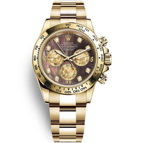 116508-0011 Rolex Oyster Cosmograph Daytona Yellow Gold Black MOP Diamond Dial Watch