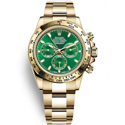 Rolex Cosmograph Daytona Yellow Gold Green Dial Watch 116508