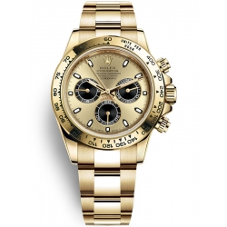 116508-0014 Rolex Oyster Cosmograph Daytona Yellow Gold Champagne Black Dial Watch