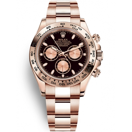 116505-0008 Rolex Oyster Cosmograph Daytona Everose Gold Black Pink Dial Watch