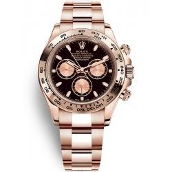 Rolex Cosmograph Daytona Everose Gold Black Pink Dial Watch 116505