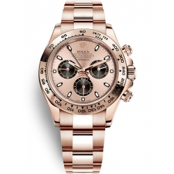 116505-0009 Rolex Oyster Cosmograph Daytona Everose Gold Pink Black Dial Watch