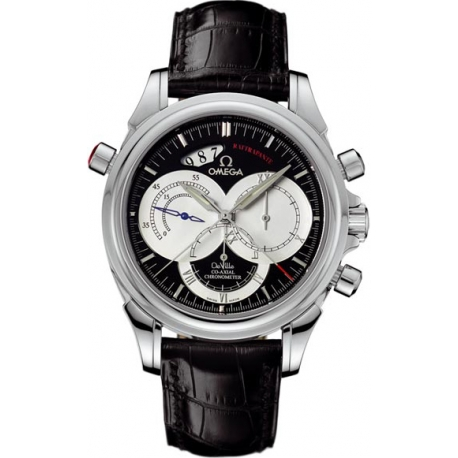 Omega De Ville Co-Axial Rattrapante Mens Black Dial Watch 4847.50.31