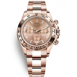 116505-0012 Rolex Oyster Cosmograph Daytona Everose Gold Diamond Pink Dial Watch