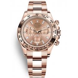 Rolex Cosmograph Daytona Everose Gold Diamond Pink Dial Watch 116505