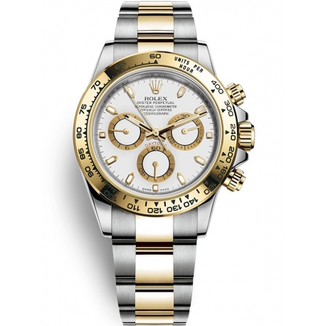 116503-0001 Rolex Oyster Cosmograph Daytona Steel Yellow Gold White Dial Watch