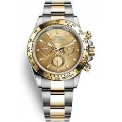 116503-0003 Rolex Oyster Cosmograph Daytona Steel Yellow Gold Champagne Dial Watch