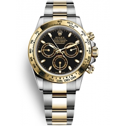 Rolex Cosmograph Daytona Steel Yellow Gold Black Dial Watch 116503