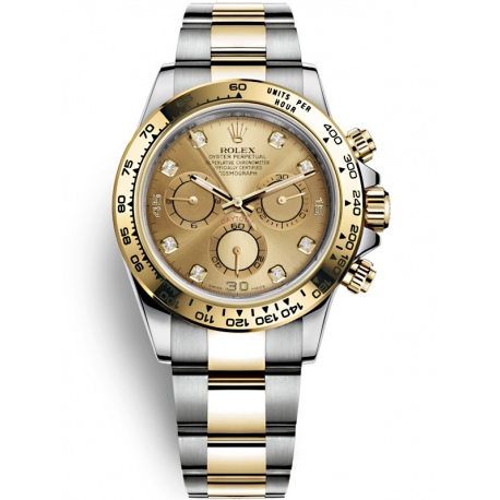 116503-0006 Rolex Oyster Daytona Steel Yellow Gold Diamond Champagne Dial Watch