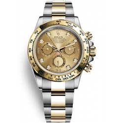 Rolex Cosmograph Daytona Steel Yellow Gold Diamond Champagne Dial Watch 116503