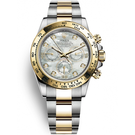 116503-0007 Rolex Oyster Daytona Steel Yellow Gold Diamond White MOP Dial Watch