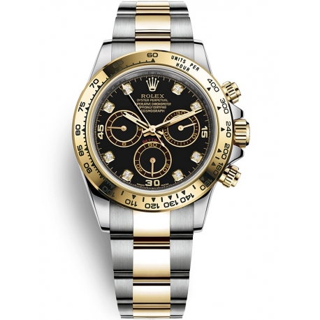 116503-0008 Rolex Oyster Daytona Steel Yellow Gold Diamond Black Dial Watch