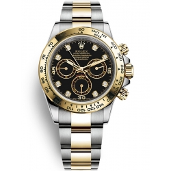 Rolex Cosmograph Daytona Steel Yellow Gold Diamond Black Dial Watch 116503