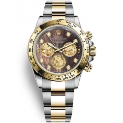 116503-0009 Rolex Oyster Daytona Steel Yellow Gold Diamond Black MOP Dial Watch