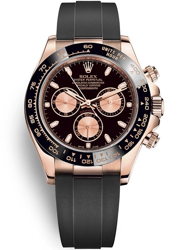 Daytona Dog Track >> 116515LN Rolex Daytona Everose Gold Black Pink Dial Rubber Watch