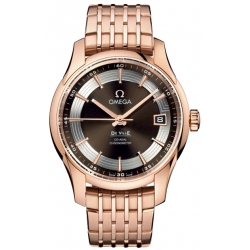 Omega De Ville Hour Vision Mens Gold Bracelet Watch 431.60.41.21.13.001