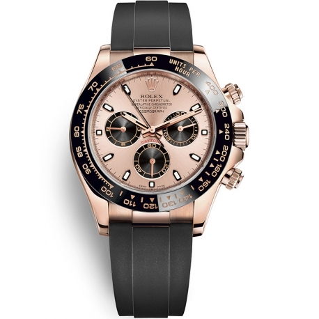 116515LN-0013 Rolex Oyster Cosmograph Daytona Everose Gold Pink Black Dial Rubber Watch