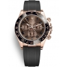 116515LN-0015 Rolex Oyster Cosmograph Daytona Everose Gold Chocolate Dial Rubber Watch