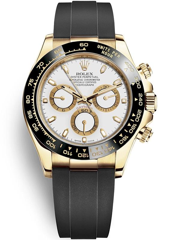 116518ln Rolex Daytona Yellow Gold White Dial Rubber Watch