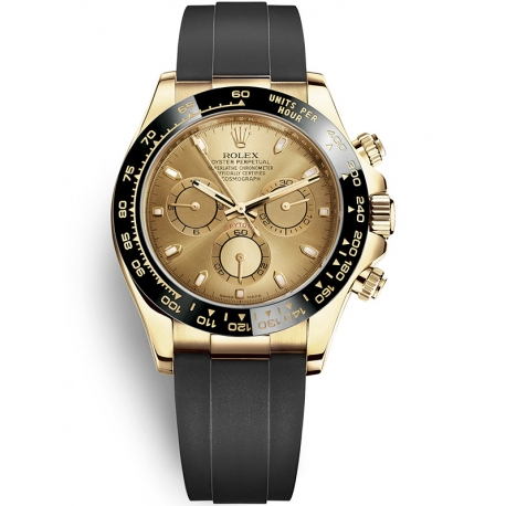 116518LN-0034 Rolex Oyster Cosmograph Daytona Yellow Gold Champagne Dial Rubber Watch