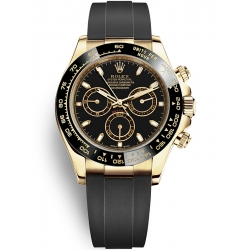 116518LN-0035 Rolex Oyster Cosmograph Daytona Yellow Gold Black Dial Rubber Watch
