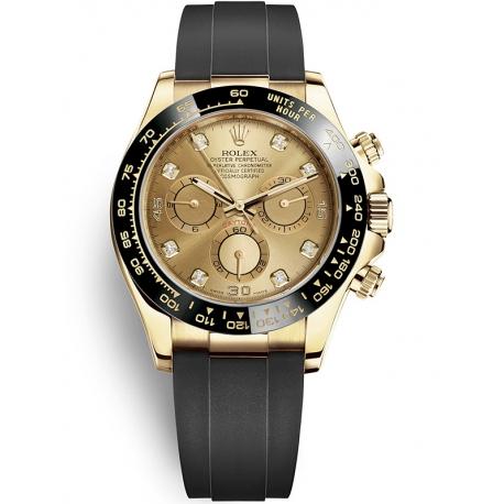 116518LN-0036 Rolex Oyster Cosmograph Daytona Yellow Gold Diamond Champagne Dial Rubber Watch