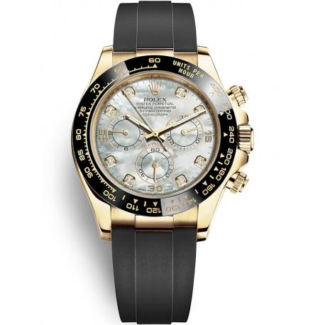 116518LN-0037 Rolex Oyster Cosmograph Daytona Yellow Gold Diamond White MOP Dial Rubber Watch