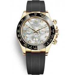 Rolex Cosmograph Daytona Yellow Gold Diamond White MOP Dial Watch 116518LN