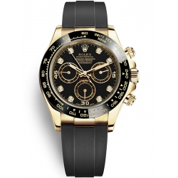 116518LN-0038 Rolex Oyster Cosmograph Daytona Yellow Gold Diamond Black Dial Rubber Watch