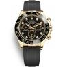 116518LN-0038 Rolex Oyster Cosmograph Daytona Yellow Gold Diamond Black Dial Rubber Watch