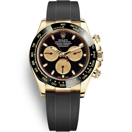 116518LN-0039 Rolex Oyster Cosmograph Daytona Yellow Gold Black Champagne Dial Rubber Watch