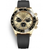 116518LN-0040 Rolex Oyster Cosmograph Daytona Yellow Gold Champagne Black Dial Rubber Watch