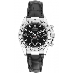 Rolex Cosmograph Daytona White Gold Black Dial Leather Watch 116519-BKSL