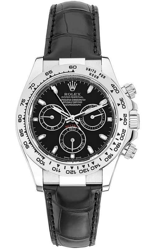 116519 Bksl Rolex Daytona White Gold Black Dial Leather Watch