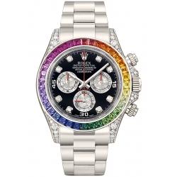 116599-RBOW Rolex Cosmograph Daytona Rainbow Sapphire 18K White Gold Watch