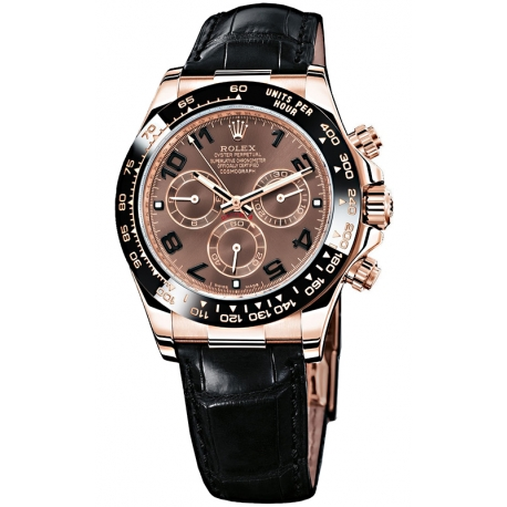 116515-LNBR Rolex Daytona Everose Gold Chocolate Dial Leather Strap Watch