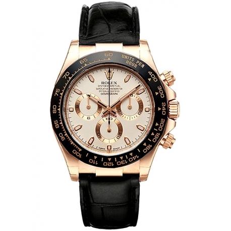 116515-LNI Rolex Daytona Everose Gold Ivory Dial Leather Strap Watch