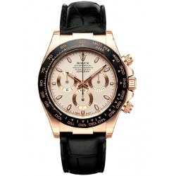 Rolex Cosmograph Daytona Everose Gold Ivory Dial Leather Watch 116515-LNI