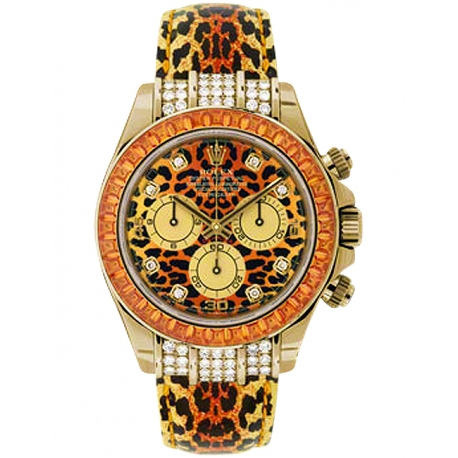 116598-SE Rolex Daytona Leopard 18K Yellow Gold Leather Watch
