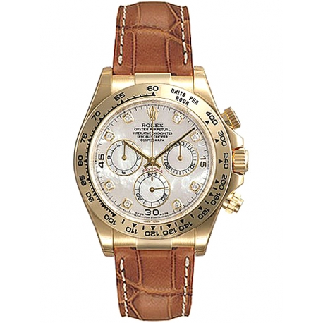 116518-MDL Rolex Daytona Yellow Gold Diamond MOP Dial Leather Strap Watch
