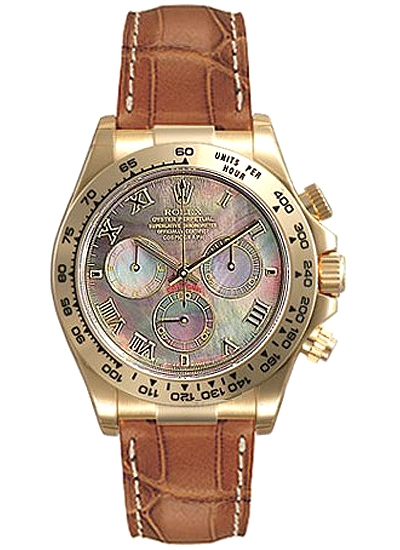 116518 Bmrl Rolex Daytona Yellow Gold Black Dial Leather Watch